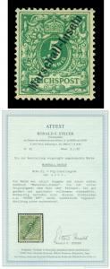 German Colonies MARSHALL ISLANDS 1897 5pf grn - JALUIT Sc# 2a (Mi 2I) MNH w/Cert