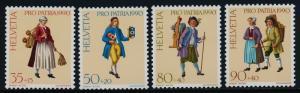 Switzerland B559-62 MNH Costumes, Street Criers, Clocks, Knife Grinder