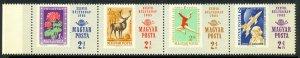 HUNGARY 1965 STAMP DAY Semi Postal Strip of 4 Sc B257a MNH