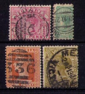 VICTORIA (LOT OF FOUR) SCOTT #159,169,193,199  Early Australian States F-VF