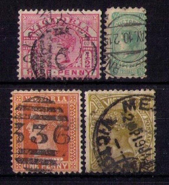 VICTORIA (LOT OF FOUR) SCOTT #159,169,193,199  Early Australian States F-VF