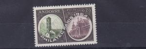 FRENCH ANDORRA 1964  S G F189  25C GREEN PURPLE & BROWN STAMP EXHIB   M / N / H