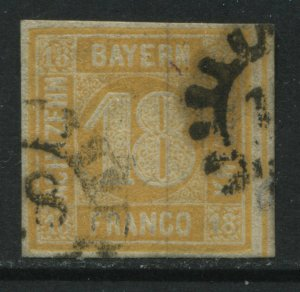 Bavaria 1854 18 kreuzer orange used
