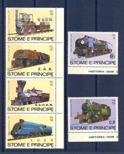 S.TOME E PRINCIPE SC# 686-688 LOCOMOTIVES MNH
