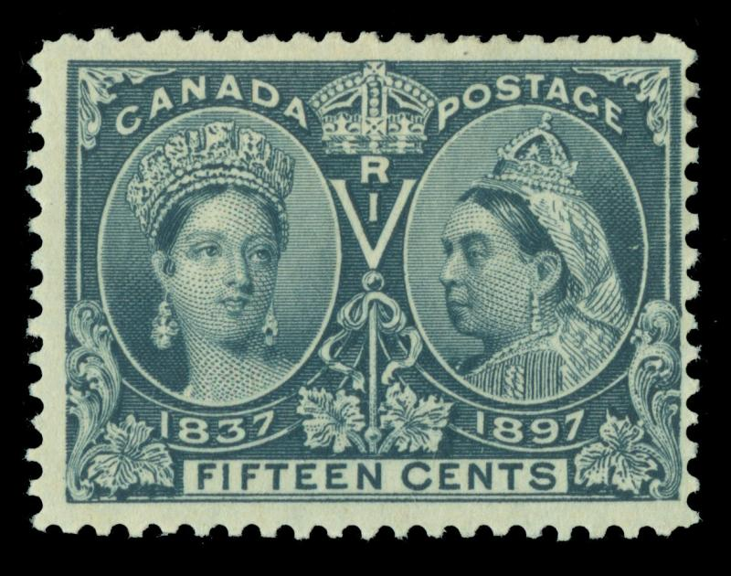 CANADA 1897  JUBILEE issue  15c steel blue  Scott # 58  mint MH