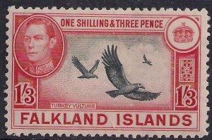 Falkland Islands 1946 KGV1 1/-3d Turkey Vultures MM SG 159 ( F529 )