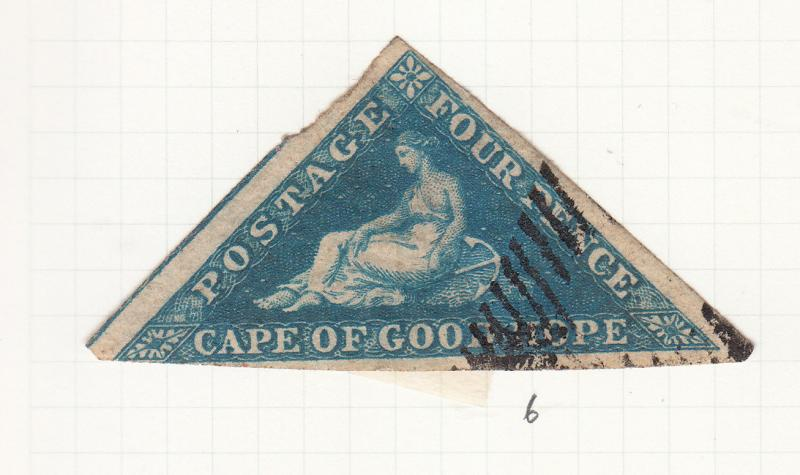CAPE OF GOOD HOPE TRIANGLE 1855 4D BLUE SG6 USED