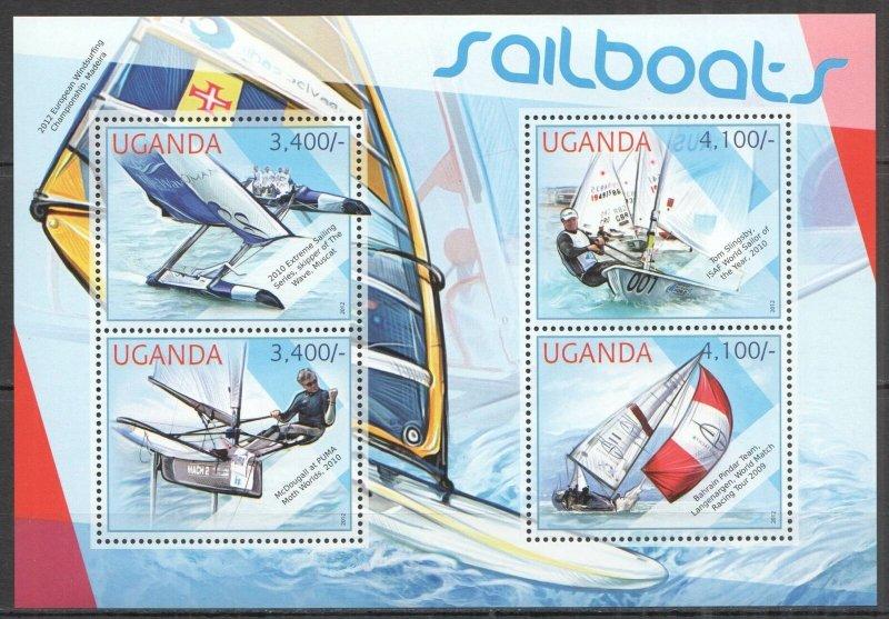 UG062 2012 UGANDA SAILBOATS SHIPS YACHTING SPORT #2876-2879 MNH