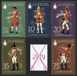 Antigua 274-278,278a sheet,MNH.Michel 263-267,Bl.2. Military uniforms 1971.