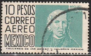 MEXICO C297, $10Pesos 1950 Definitive 3rd Printing wmk 350. USED. F-VF. (1441)