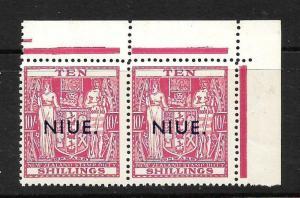 NIUE  1941-67  10/-  ARMS  MNH PAIR    SG 85