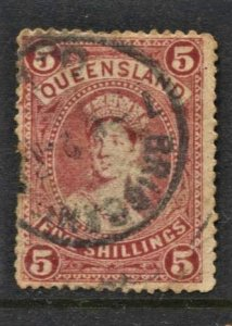 STAMP STATION PERTH Queensland #?-142 QV 5/- Used Wmk.12-Perf.13- CV$70.00