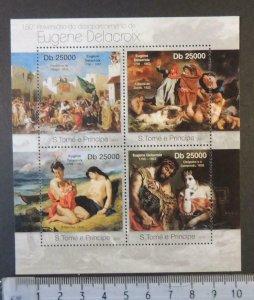 St Thomas 2013 eugene delacroix nudes women art m/sheet mnh