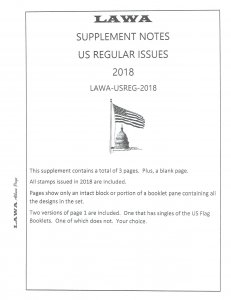 2018 US REGULAR ISSUES SUPPLEMENT – LAWA Album Pages