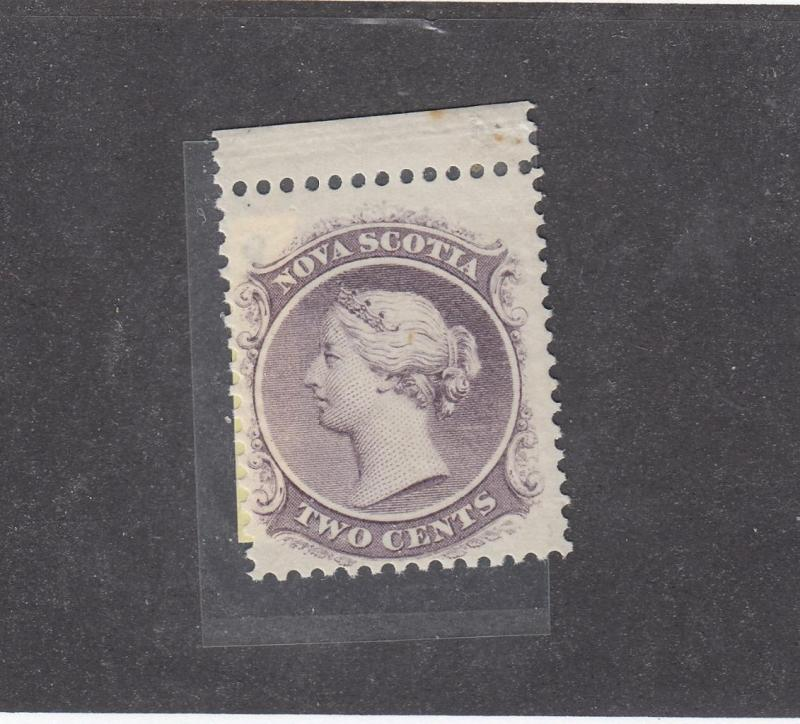 NOVA SCOTIA # 9 MNH 2cts QUEEN VICTORIA W MARGIN LILAC  CAT VALUE $40