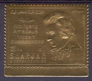 Sharjah 1970 FREEMASONRY MOZART Gold Foil Stamp Perforated Mint (NH)