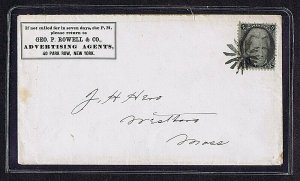 SC 93 ON NYC AD COVER STARBURST FANCY CANCEL, 1868, PF CERT