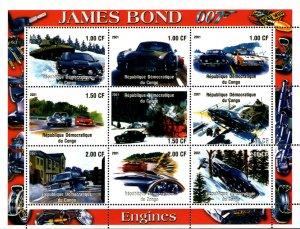 Congo 2001 James Bond's Cars Hollywood Movie Cinema 9v Mint Full Sheet. (L-20)