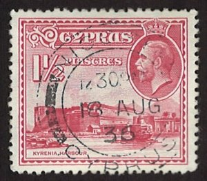 Cyprus Kyrenia Harbour 1 1/2 piastres 1934 Landscapes and Buildings (LL-78)