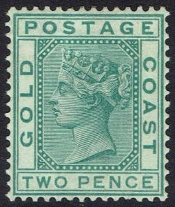 GOLD COAST 1876 QV 2D GREEN WMK CROWN CC PERF 14