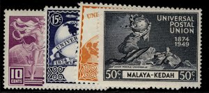 MALAYSIA - Kedah GVI SG72-75, anniversary of UPU set, LH MINT.