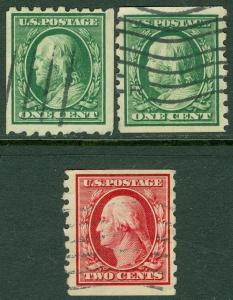 USA : 1910-13. Scott #390, 92-93 Very Fine, Used. Catalog $114.00.