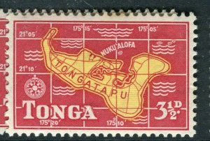 TONGA; 1953 early QEII issue fine Mint hinged 3.5d. value