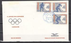Ecuador, Scott cat. 1098-1100. 10th Bolivian Games issue. First day cover. ^