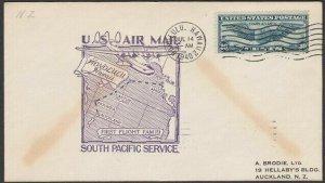 USA 1940 first flight cover Honolulu Hawaii to New Zealand..................Q495