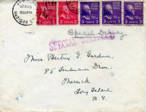 U.S. Scott 806 (2) & 807 (3) Prexies/Prexys on 1st Class Special Delivery Cover