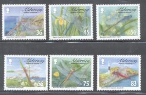 Alderney Sc 362-7 2010 dragonflies stamp set mint NH