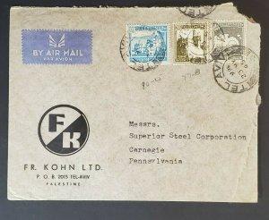 1945 Palestine to Carnegie Pennsylvania USA FR Kohn Advertising Air Mail Cover