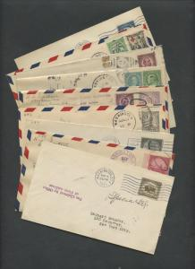 #692-698, 700-701 FIRST DAY COVERS 9 DIFFERENT VALUES CV $1,920 BU6461 HS356182
