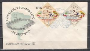 Colombia, Scott cat. C451-C452. Sports Meet issue. First day cover.