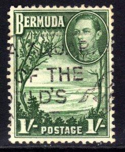 Bermuda 1938 - 52 KGV1 1/-d Grape Bay Paget Parish used SG 115a ( J1430 )