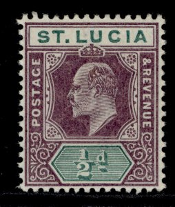 ST. LUCIA EDVII SG58, ½d dull purple and green, LH MINT.