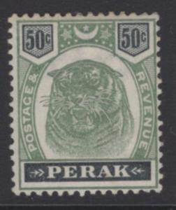 MALAYA PERAK SG75 1898 50c GREEN & BLACK MTD MINT