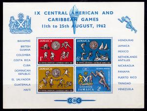 Jamaica #200a Souvenir Mini Sheet Imperf MNH - Caribbean Games (1962)