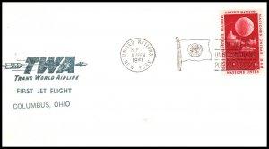 UN New York to Columbus,OH TWA 1961 First Jet Flight Cover