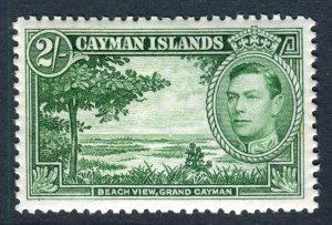 Cayman Islands 1938 KGVI. 2s yellow green. Mint. LH. SG124.
