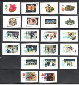 Canada Picture Postage Lot (Qtt 21) Mineral / Hockey / Men / Women Collection