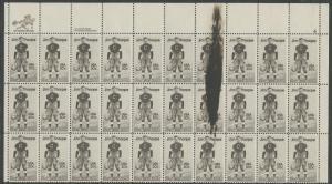 #2089 VAR. JIM THORPE PLATE NO. BLK/30; (3) STAMPS WITH INK SMEAR ERROR BS5483
