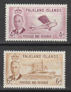 FALKLAND ISLANDS 1952 KGVI PICTORIAL 4D AND 6D