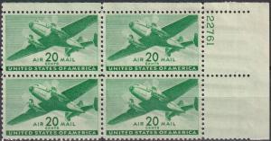 US #C29 MNH Plate Block  CV $9.50 (A19937)