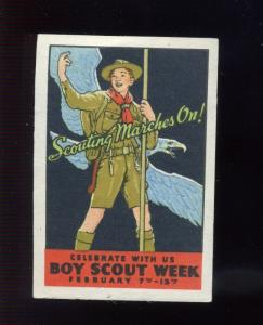 Vintage BOY SCOUT WEEK 'SCOUTING MARCHES ON' Norman Rockwell Poster Stamp (L77)