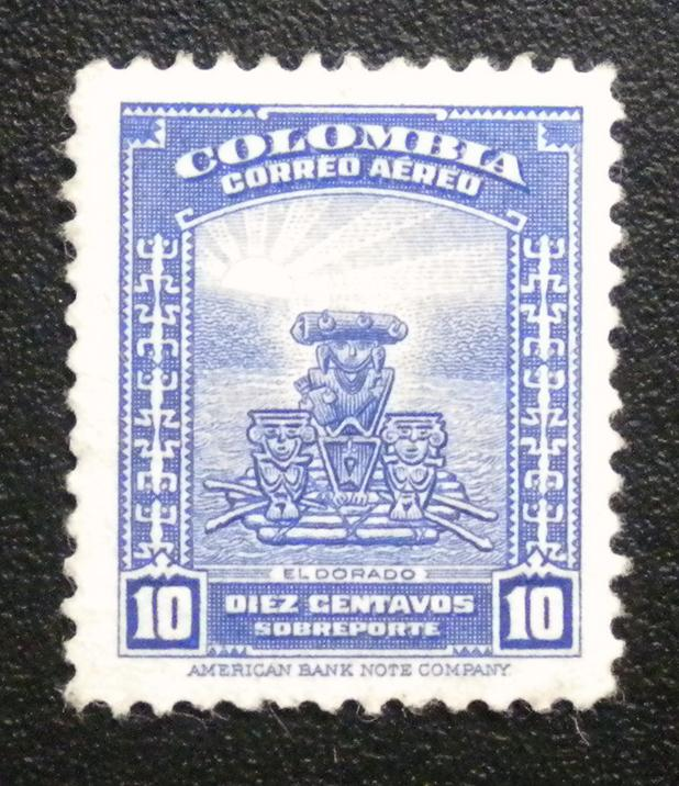 COLOMBIA AIRMAIL STAMP 1941.  USED. SCOTT # C218. ITEM 1