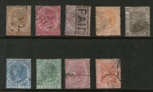 Malaysia S. Setts. 1867 QV  SG 11-19 FU - scare set