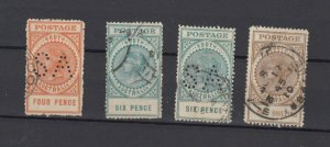 South Australia QV Large Collection Of 4 To 1/- Fine Used JK6324