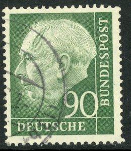 GERMANY 1954-60 90pf President Theodor Heuss Issue Sc 718 VFU