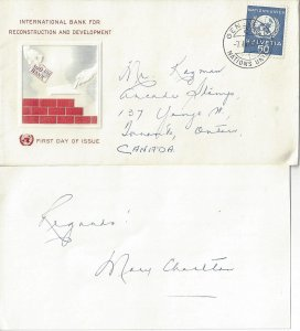 United Nations Geneva  UNEO 7o27 Souvenir Visit Cover 1965